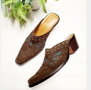 🎉Cole Haan Brown Suede Turquouse Western Mules🎉